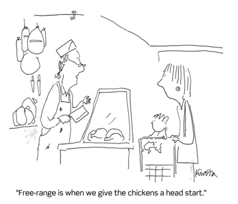 Free-range is when we give the chickens a head start