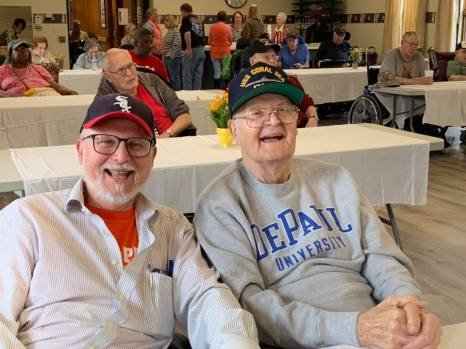William S. Bike (LAS '79) and his 96-year-old father, William F. Bike, at the Illinois Veterans' Home in Manteno, Ill.