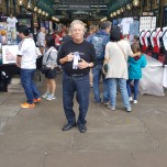 Emil Hunter (BUS '71) and Dibs at the Apple Market, Covent Garden, London